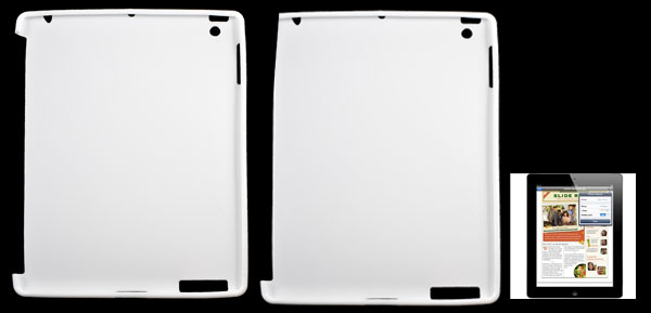 Lychee Pattern Soft Plastic Case Cover White for Apple iPad 2