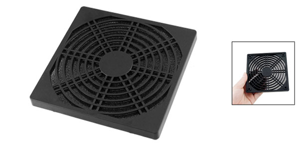 PC Fan 12cm Square Plastic Filter Dust Guard Dustproof Mesh Black