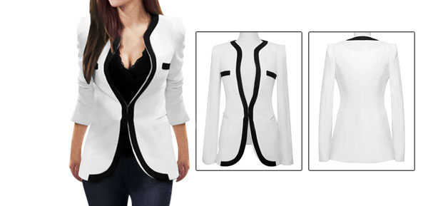 Ladies White Side Pockets Long Sleeves Leisure Spring Blazer XS