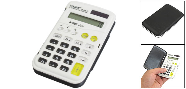 Black Folding Lid Cover White Panel LCD Display 8 Digits Electronic Calculator