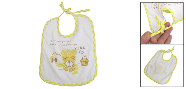 White Yellow Cartoon Bear Print Waterproof Toddler Bibs Soft Saliva Towel