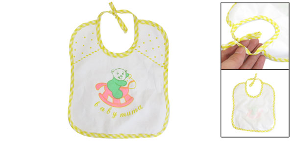 White Yellow Cartoon Bear Pattern Toddler Waterproof Bibs Soft Saliva Towel