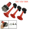 Black Red Triple Air Compressor Horns for DC 12V Car Vehicle