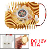 Gold Tone Rectangle Clear 2 Pins CPU Cooler Cooling Fan for Compu...