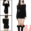 Allegra K Ladies Long Sleeves Skinny Fashional Mini Dress Black XS