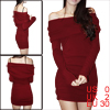 Ladies Burgundy Long Sleeves Form Fitting Pullover Mini Dress XS