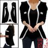 Ladies Black Long Sleeves Two Hook Eye Fashional Spring Blazer XS