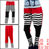 Women Red White Black Elastic Waist Autumn Loose Harem Pants XS
