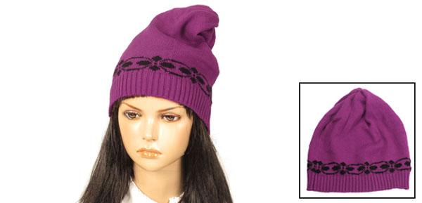 Women Winter Floral Prints Fuchsia Ribbed Cuffs Ski Knit Beanie Hat Skull Cap