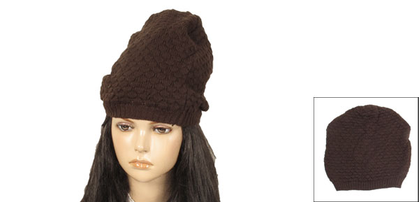 Womens Brown Fish Scales Texture Winter Warm Knit Beanie Caps