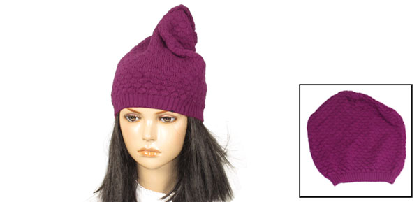 Fushcia Fish Scales Texture Knitted Beanie Hat for Ladies