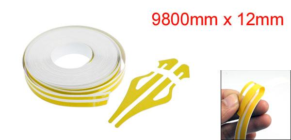 12mm x 9800mm Orange White Car Auto Adhesive Tape Stripe Sticker