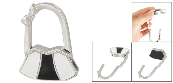 White Black Metal Bowknot Accent Bag Shaped Folding Handbag Hook