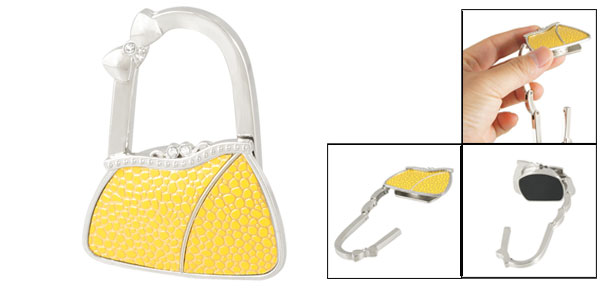 Silver Tone Yellow Cobble Pattern Metal Bag Shaped Foldable Handbag Hook