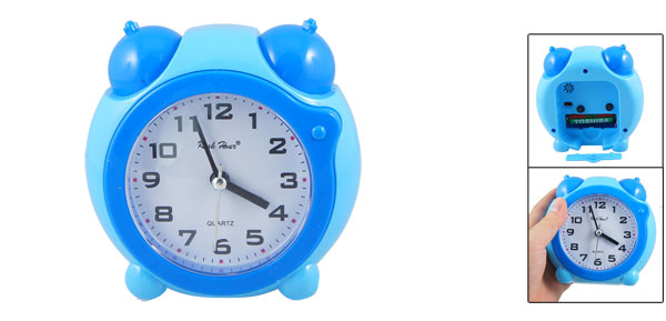 Plastic Shell Round Dial Double Bell Decor Home Office Desk Numeral Alarm Clock