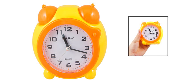 Orange Plastic Shell Round Dial Home Office Desk Numeral Alarm Clock