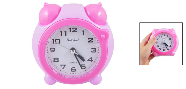 Pink Plastic Shell Round Dial Double Bell Decor Home Office Desk Alarm Clock