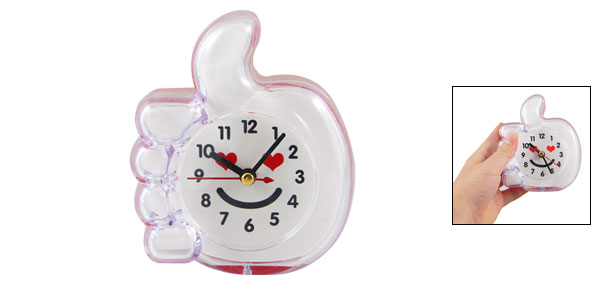 Red Clear Plastic Thumbs Up Shape Arabic Numerals Marking Table Alarm Clock
