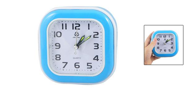 10cm Square Dial Arabic Number Display Plastic Desk Alarm Clock Blue