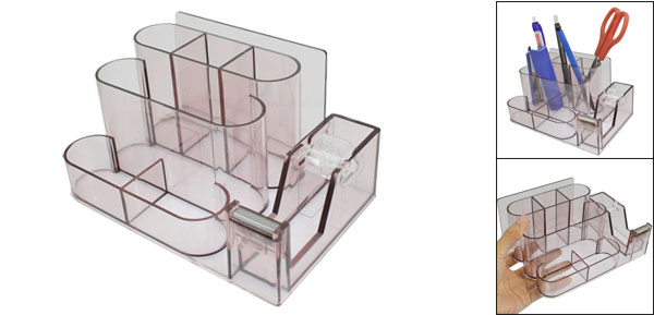 Home Office Plastic Pen Eraser Adhesive Tape Organizer Stationery Holder Clear