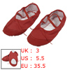 Red Split Sole Drawstring Top Ballet Dancing Flats Shoes US 5.5 f...
