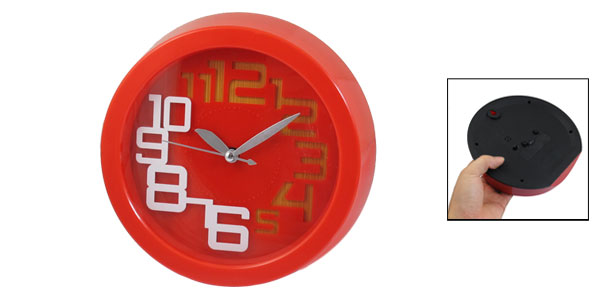 Red Arabic Numbers Display Wall Mounted Alarm Clock for Office