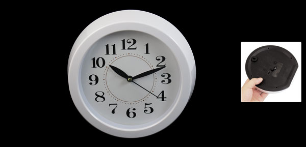White Plastic Round Case Battery Powered Wall Mounted Clock