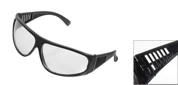 Workshop Clear Rectangle Lens Black Frame Shielded Goggles Glasses