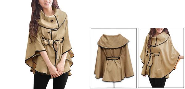 Ladies Khaki Korean New Buttons Front Pockets Decor Fall Cape S