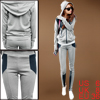 Ladies Light Gray Drawstring Hooded Zip Up Coat w Elastic Waist Pants S