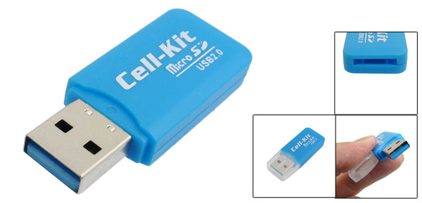 Blue Plastic Casing Shell USB 2.0 Micro SD Mini Memory Card Reader