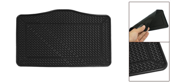 Car Interior Black Rubber Textured Braided Pettern Nonslip Mat Pad Holder