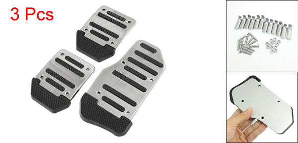 3 Pcs Silver Tone Black Nonslip MT Car Gas Brake Pedal Cover