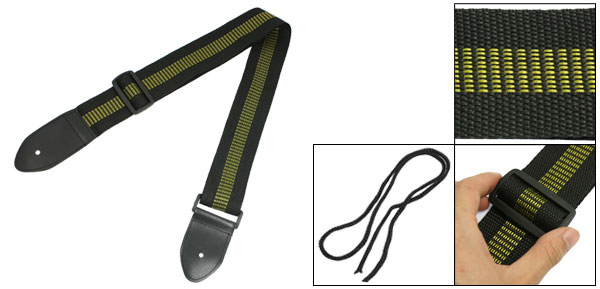Faux Leather Ends Adjustable Nylon Webbing Belt Guitar Strap Yellow Black