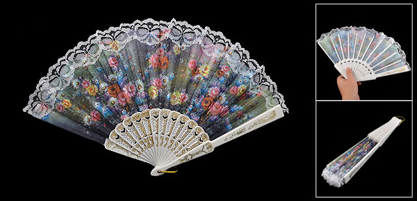 Plastic Rib Multicolor Flower Pattern Lace Fabric Hand Pocket Asian Fan