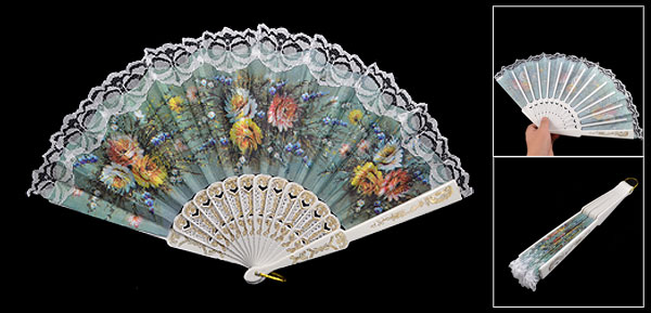 Colored Flower Prints Lace Trim Folding Fabric Hand Fan Decoration
