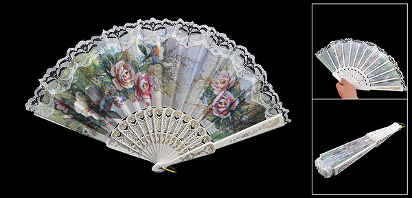 Hollow Out Rib Colored Peony Print Lace Trim Folding Fabric Hand Fan