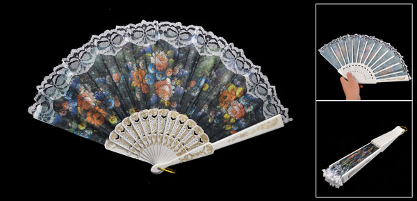 Plastic Rib Colored Daisy Pattern Fabric Lace Hand Pocket Asian Fan