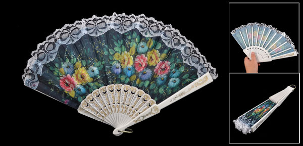 Gold Tone White Plastic Rib Flower Pattern Fabric Hand Pocket Asian Fan