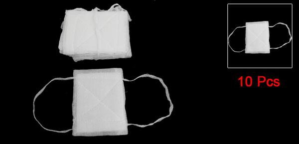 12.5cm x 16.5cm Washable Health White Gauze Coverd Face Mouth Mask 10 Pcs