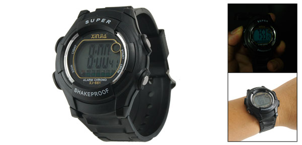 Lady Adjustable Band Water Resistant Sports Digital Watch Stopwatch Black