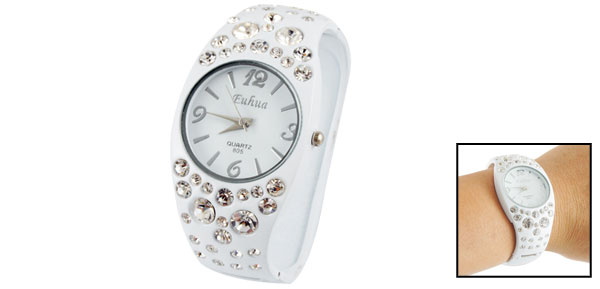 Lady Women Rhinestone Accent Round Dial Bracelet Wrist Watch White