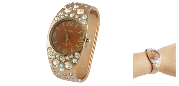 Lady Glitter Rhinestone Detail Round Dial Bracelet Wrist Watch Coffe Color