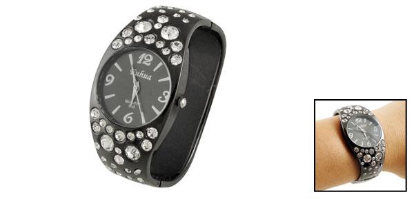 Lady Women Glittery Rhinestone Detail Round Dial Bracelet Wrist Watch Black