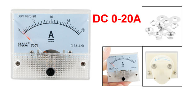 85C1 DC 0-20A Rectangle Analog Amperemeter Panel Meter Gauge