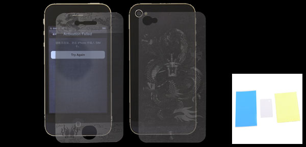 Dragon Pattern Clear Front Screen Back Cover Film Assembly for iPhone 4 4G 4S 4GS