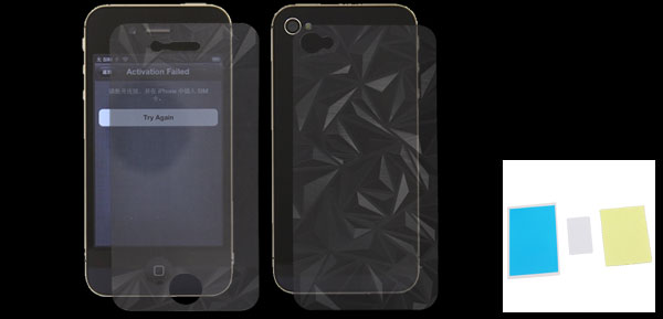 Rhombic Print Front Screen Guard + Back Cover Film for iPhone 4 4G 4S 4GS
