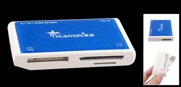 White Blue Plastic Shell USB 2.0 SD TF MS M2 Memory Card Reader