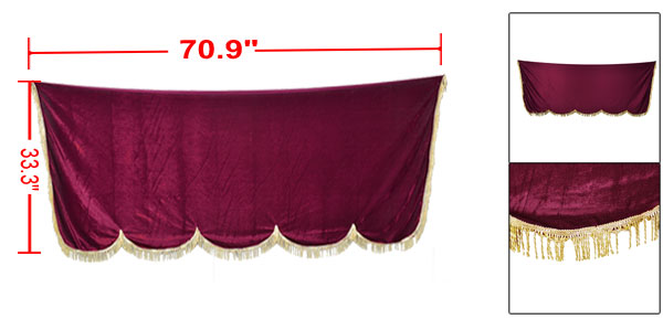 Tassel Detailing Trim Burgundy Pleuche Piano Half Cover 180cm x 84.5cm