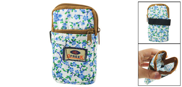Green Leaf Blue Floral Print 2 Pockets Zip up Cell Phone Wrist Bag Pouch